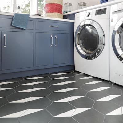 "SomerTile Peak Hex Blanco Encaustic 8.63"" x 9.86"" Porcelain Floor and Wall Tile"