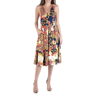 24seven Comfort Apparel Multicolor Floral Paisley Fit and Flare Dress with Pockets R0026181NTC