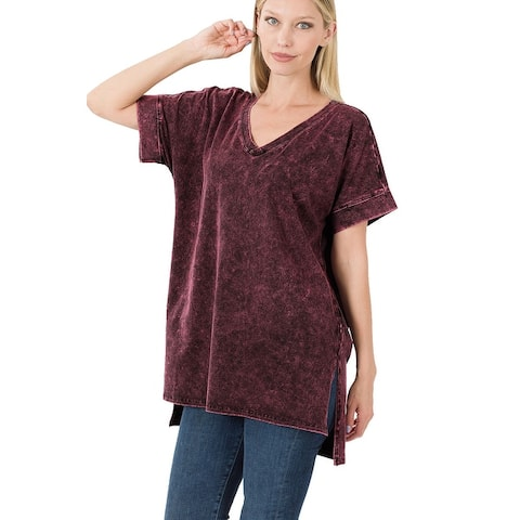 JED Women's Mineral Washed Cotton Short Sleeve Tunic T-Shirt