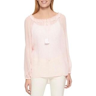 Tommy Hilfiger Womens Pullover Top Sheer Cold Shoulder