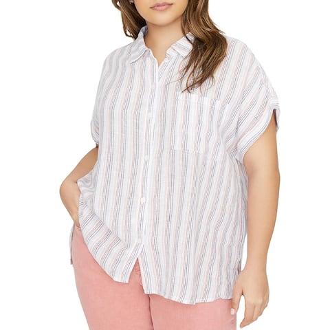 Sanctuary Womens Plus Blouse Linen Collared - Sante Fe Stripe - 1X
