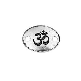 TierraCast Pewter, Oval Connector Link with Om / Aum Symbol 19.5x14.5mm, 1 Piece, Antiqued Silver