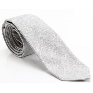 Calvin Klein Gray Crystal Pebble Solid Men's Silk Blend Neck Tie