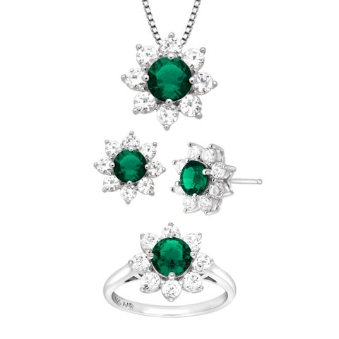 5 7/8 ct Created Emerald & White Sapphire Flower Pendant, Ring & Earring Set in Sterling Silver - Green