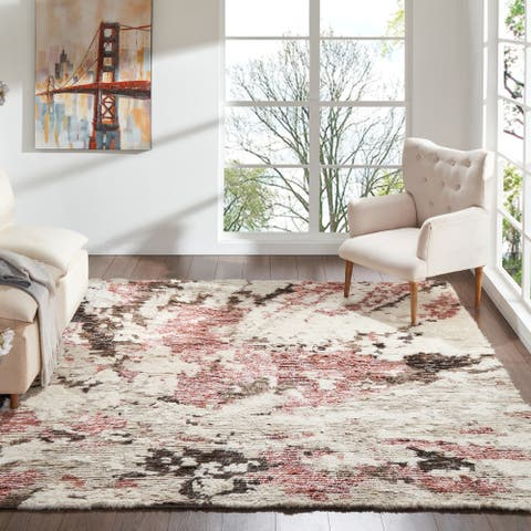 Abstract Shag Pink/White Area Rug