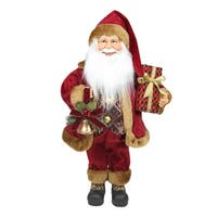 "18.5"" Santa Claus with Bell and Gift Christmas Tabletop Decoration - Red"