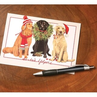 Santa's Yelpers Dog Holiday Greeting Cards - Set of 10 - MultiColor