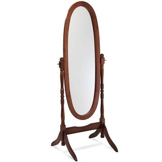 Costway Swivel Full Length Ovel Mirror Wooden Cheval Floor Free Standing Dressing Brown