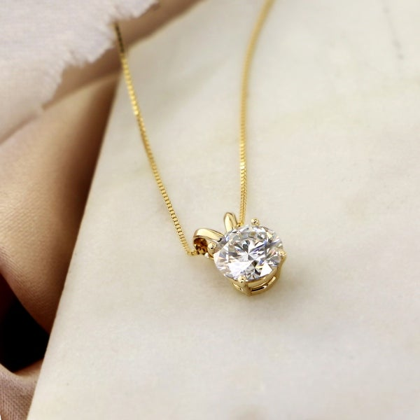Auriya 18KT Gold 1ctw Round Solitaire Moissanite Necklace - 6.5 mm - 6.5 mm. Opens flyout.