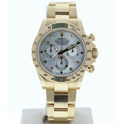 Preowned 116528 Rolex Daytona Mother of Pearl Arabic Dial Yellow Gold Band - Mother of Pearl Arabic Dial
