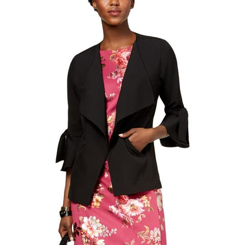 NY Collection Womens Open-Front Blazer Fly-Away Bell Sleeves - L