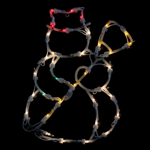 """15"""" Lighted Snowman Double Sided Christmas Window Silhouette Decoration - WHITE"""