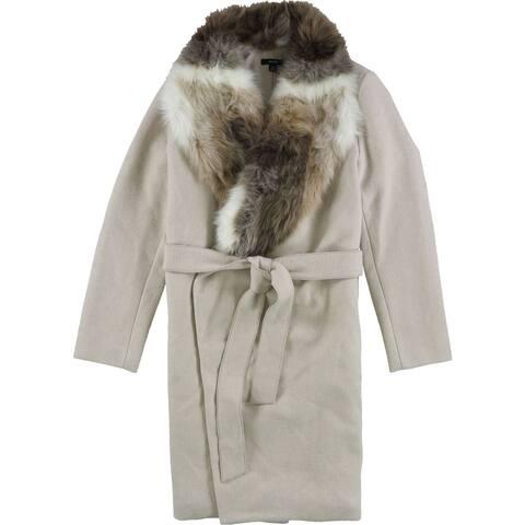 Alfani Womens Faux Fur Collar Coat, Beige, L/XL