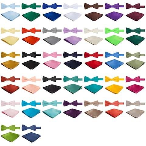 Jacob Alexander Solid Color Men's Bowtie and Hanky Set - One Size