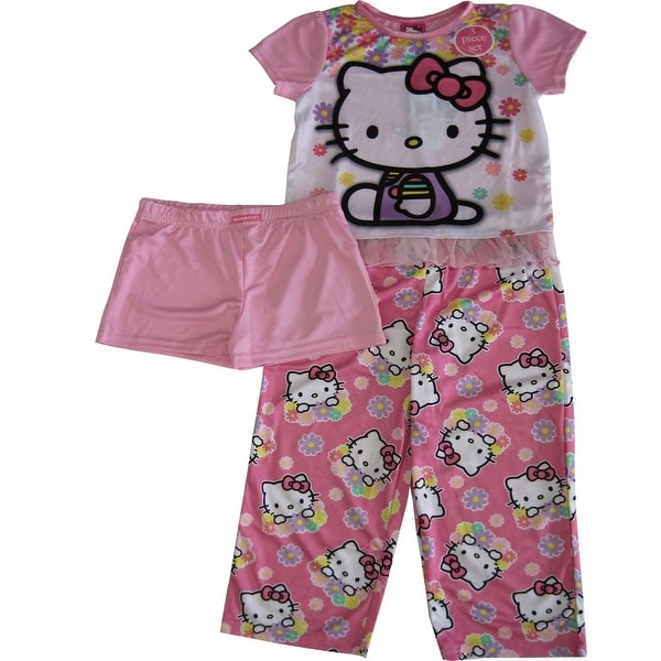 76e39bcde2 Shop Sanrio Little Girls Pink Hello Kitty Floral Print Shorts 3 Pc  Sleepwear Set - Free Shipping On Orders Over $45 - Overstock - 18167773