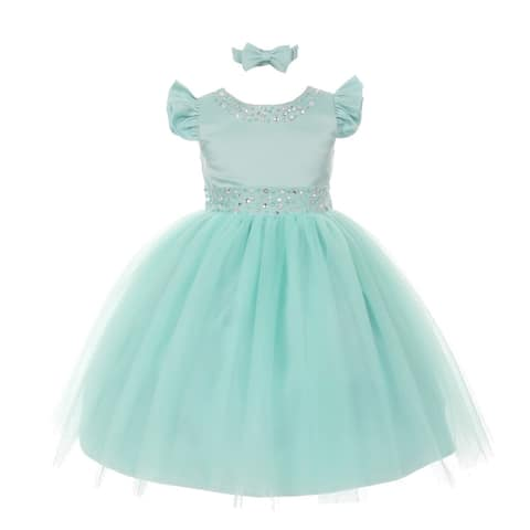 Rain Kids Little Girls Mint Rhinestone Pearl Accent Headband Easter Dress