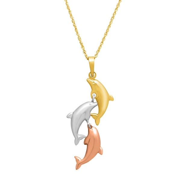 Just Gold Polished Dolphin Pendant in 14K Three-Tone Gold - Tri-color