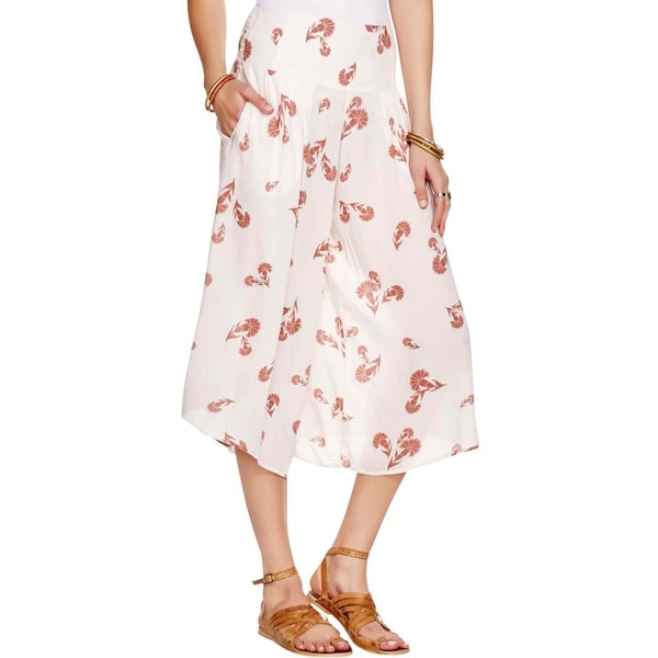 Free People Womens Culottes Floral Print Pleated