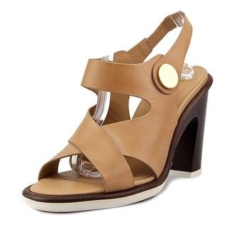 Tod's Sandalo T105 WK Bottone Women Open-Toe Patent Leather Brown Heels