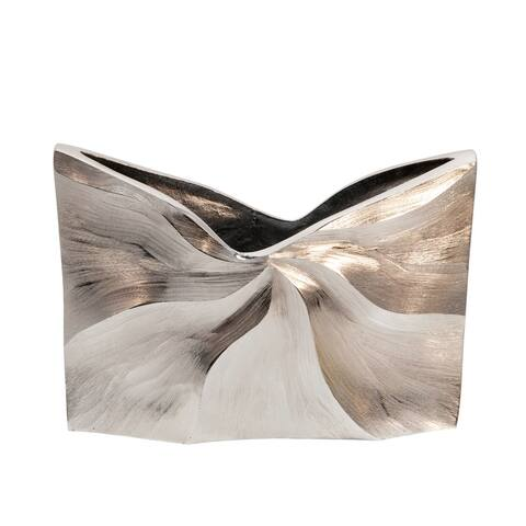 "9"" Decorative Wave Vase, Silver"