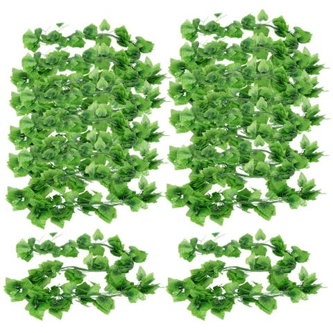 Green 7.9ft Long Artificial Grape Leaves for Home Wall Decor 11 Pcs