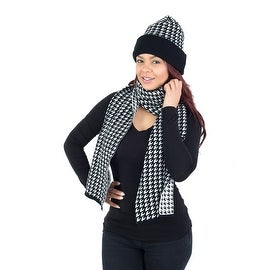2-Piece Winter Hat Scarf Set, Houndstooth Design