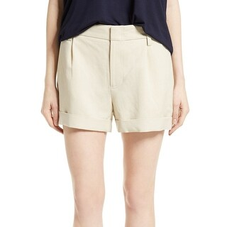 Vince Beige Womens Size 10 Mid-Rise Pleated Roll-Cuff Shorts