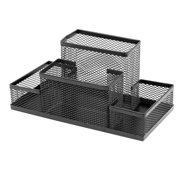 Black Metal Four Layers Office Desk Pen Holder Basket