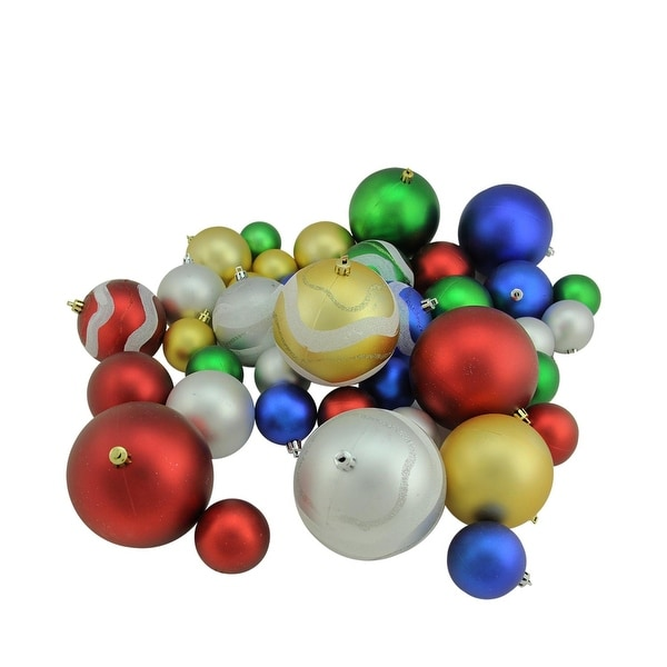 "39ct Multi-Color Matte and Glitter Shatterproof Christmas Ball Ornaments 2""-4"" - multi"