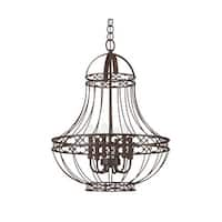 "Park Harbor PHHL6305 24"" Wide 5 Light Single Tier Empire Style Chandelier with Cage Style Frame"
