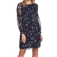 CeCe Blue Womens Size Small S Smocked Floral Print Shift Dress