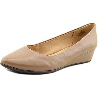 Easy Spirit e360 Avery Women Open Toe Leather Gray Wedge Heel