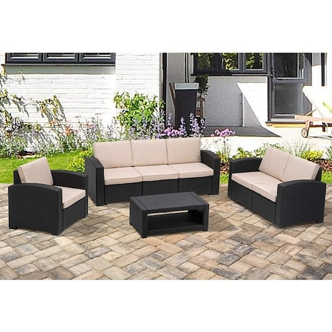 MCombo 7pcs Patio Furniture Set Outdoor Sectional Sofa Rattan Pattern Patio Conversation Set w/Seat Cushions 6050-700