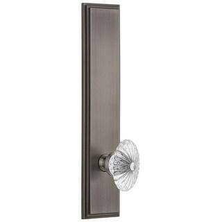 Grandeur CARBUR_TP_PRV_234_RH  Carre Solid Brass Tall Plate Rose Right Handed Privacy Door Knob Set with Burgundy Crystal Knob