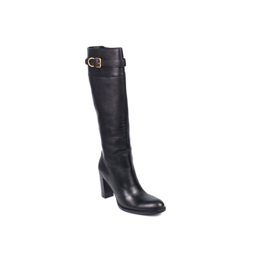 71384b3c Car Shoe By Prada Black Leather Buckled Knee High Boots