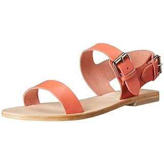 Sol Sana Womens Everleigh Leather Ankle Strap Flats - 37 medium (b,m)