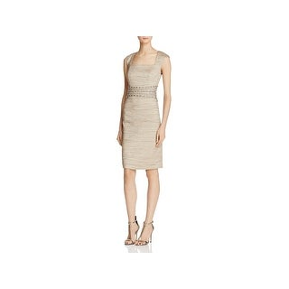 Eliza J Womens Party Dress Beaded Waist Textured