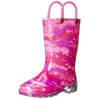 Western Chief Girls Neo Camo Lighted Light Up Waterproof Rain Boots - 8 medium (b,m)