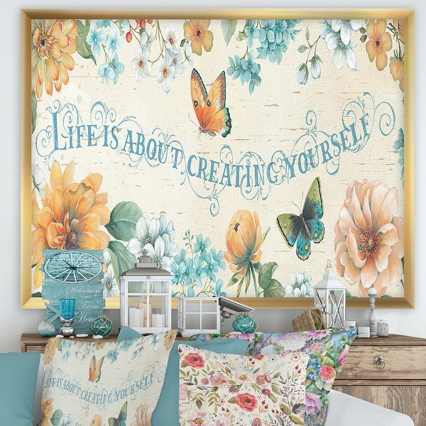 Designart 'Butterfly Bloom lovely Quote' Farmhouse Premium Framed Art Print. Opens flyout.