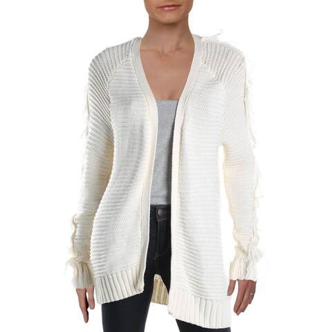 Aqua Womens Antonie Cardigan Sweater Cotton Fringe Trim - Ivory