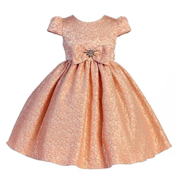 295262d20d8 Shop Crayon Kids Girls Peach Floral Pattern Bow Flower Girl Dress 8-10 - Free  Shipping Today - Overstock - 18179484