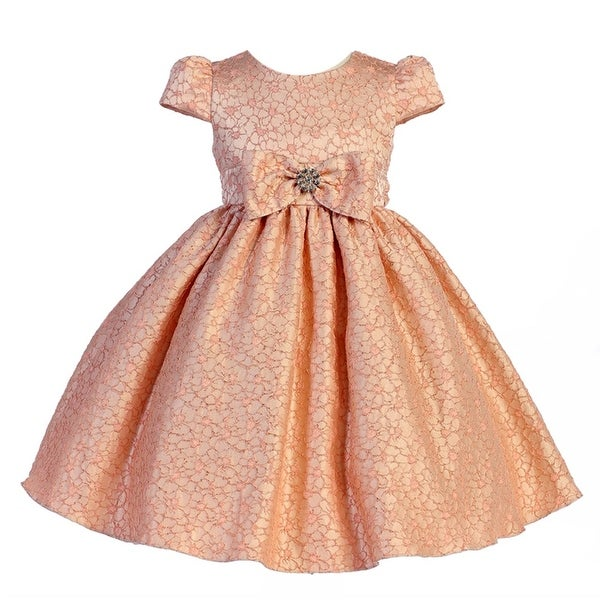 500be0f3bb23 Shop Crayon Kids Little Girls Peach Floral Pattern Bow Flower Girl Dress  2T-6 - Free Shipping Today - Overstock - 18174536