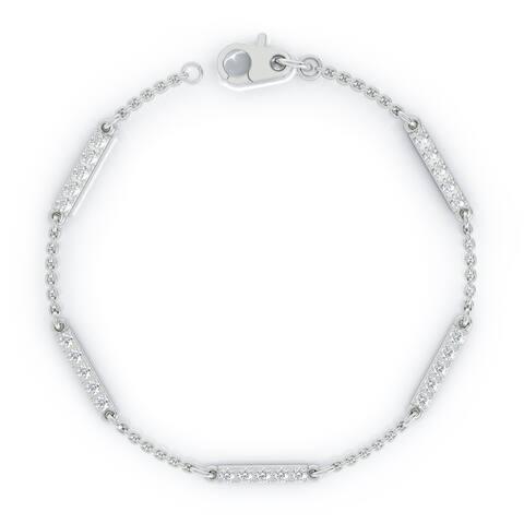 "14K Gold Diamond Bar Chain Station Bracelet, 7"" (0.50 Ct, G-H, SI2-I1) by Noray Designs"