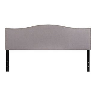 Offex Upholstered King Size Headboard with Accent Nail Trim in Light Gray Fabric