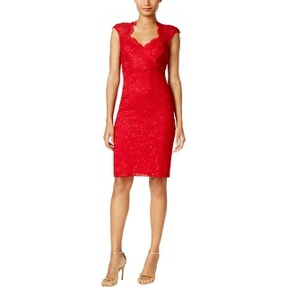 Connected Apparel Womens Cocktail Dress Lace Cut-Out