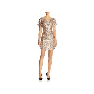 Molly Bracken Womens Sparkle Party Dress Open Sleeves Sequinned