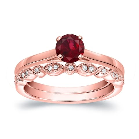 Auriya 14k Gold 1/3ctw Vintage Solitaire Ruby Engagement Ring Set 1/6ctw