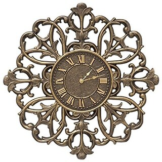 Whitehall Products Filigree Silhouette 21-in Indoor/Outdoor Wall Clock - Bronze