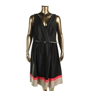 Calvin Klein Women 39 S Black Khaki Colorblock Plus Size Dress Free Shipping Today Overstock
