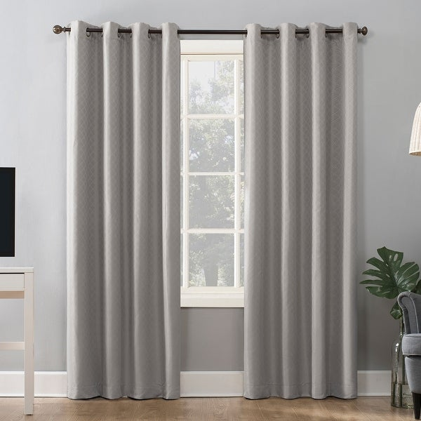 Sun Zero Kenji Woven Scalloped Theater Grade Extreme 100% Total Blackout Grommet Curtain Panel